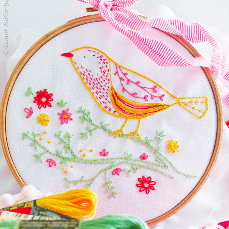 Yellow Bird Hand Embroidery Kit