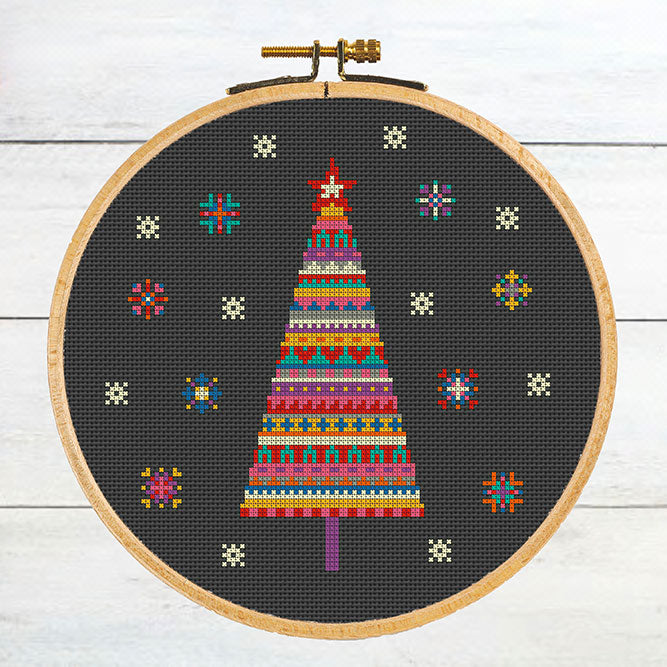 Merry and Bright Christmas Tree Cross Stitch Pattern
