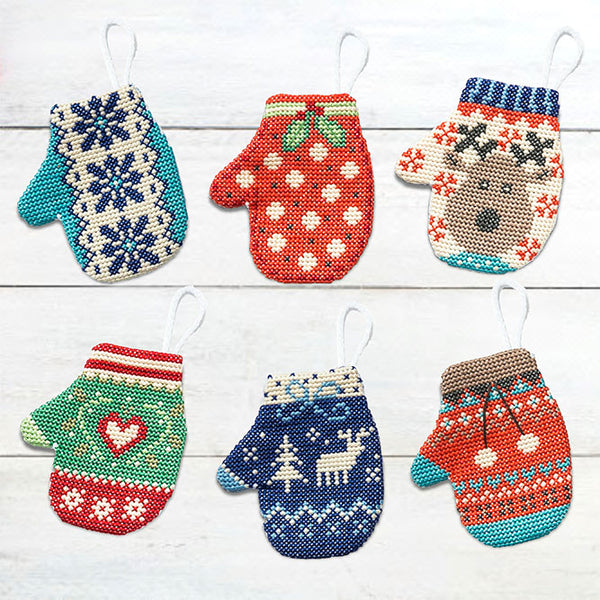 Festive Mitten Ornaments Cross Stitch Pattern
