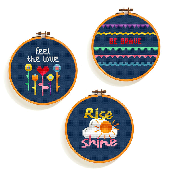 Happy Days Cross Stitch Pattern - Mini Hoop Trio