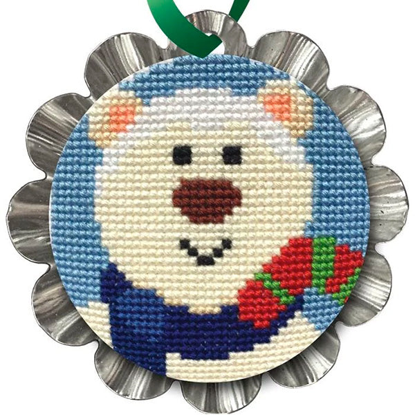 Tart Tin Cross Stitch Ornament Kit - Jolly Polar Bear