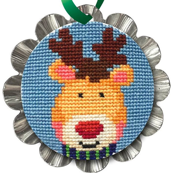 Tart Tin Cross Stitch Ornament Kit - Jolly Reindeer