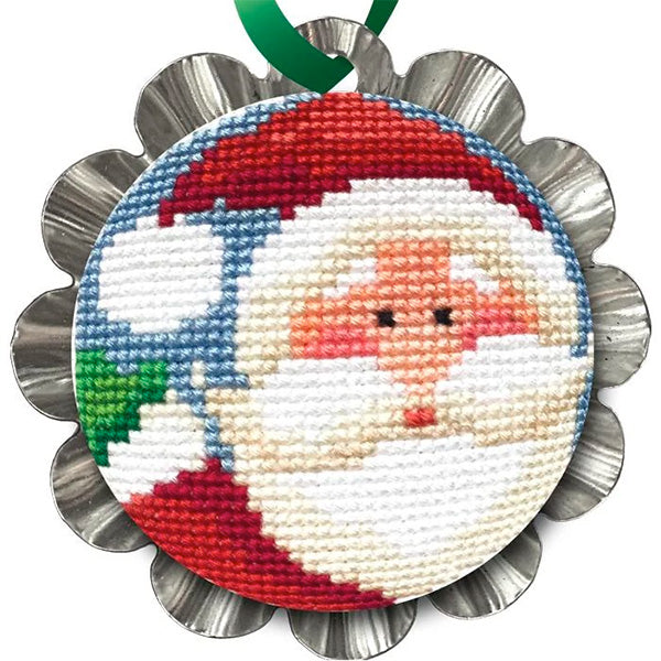 Tart Tin Cross Stitch Ornament Kit - Jolly Santa
