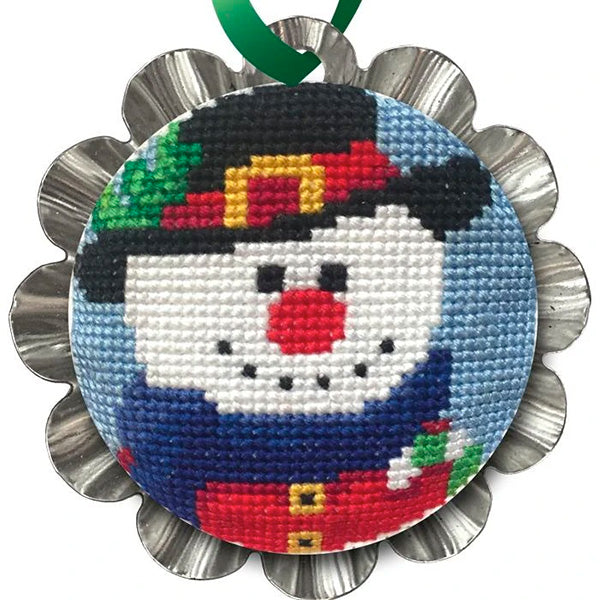 Tart Tin Cross Stitch Ornament Kit - Jolly Snowman