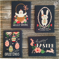 Chalkboard Easter Greetings Cross Stitch Pattern