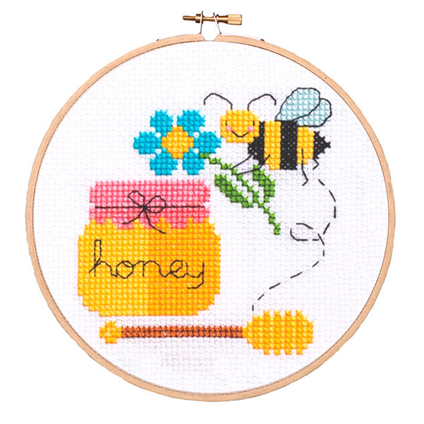 Bees and Honey Cross Stitch Pattern