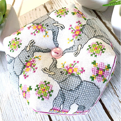 Elephant Biscornu Cross Stitch Pattern
