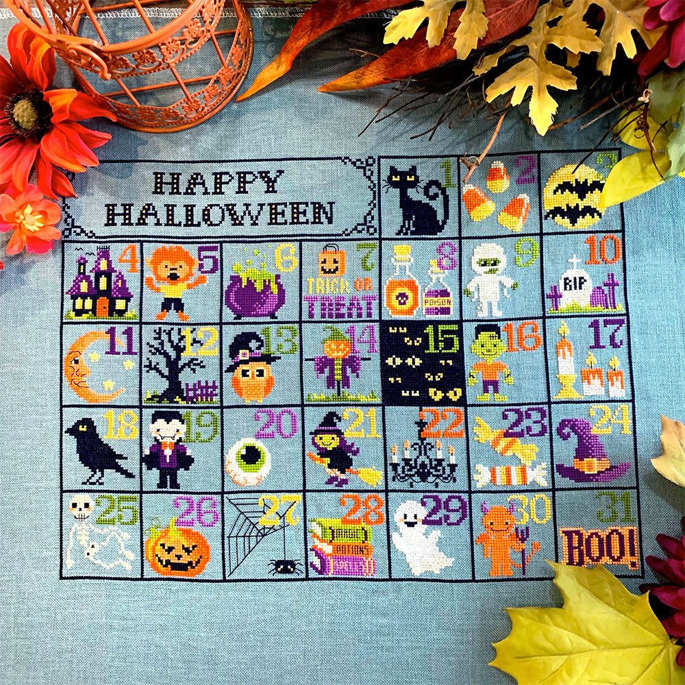 Halloween Calendar Cross Stitch Pattern