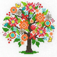 Seasonal Trees Cross Stitch Pattern