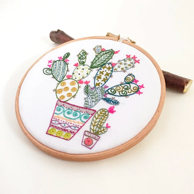 French Hand Embroidery Kit - Cactus
