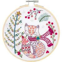 French Hand Embroidery Kit - Madame Fox Awaits Christmas