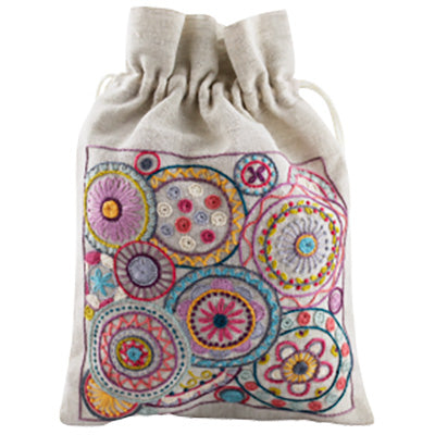 French Hand Embroidery Kit - Mandala Pouch