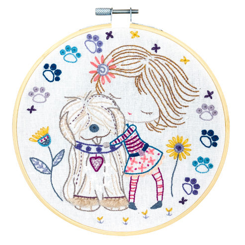 French Hand Embroidery Kit - Salome Cuddles Her Dog