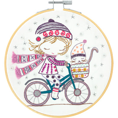 French Hand Embroidery Kit - Salome Rides Her Bike