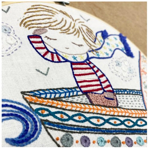 French Hand Embroidery Kit - Sacha Sails the Seas