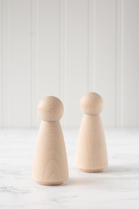 Unfinished Wood Peg Dolls - Set of 2