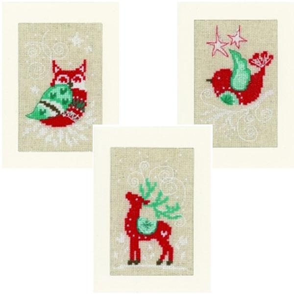 Cross Stitch Greeting Card Kit - Set of 3 Winter Scenes