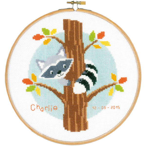 Raccoon Birth Sampler Cross Stitch Kit