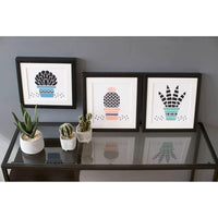 Abstract Succulent Cross Stitch Kit - Blue and Black