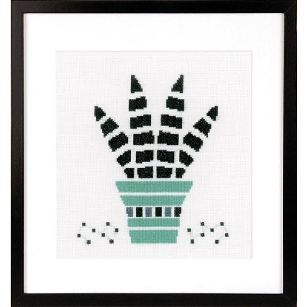Abstract Succulent Cross Stitch Kit - Green and Black
