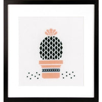 Abstract Succulent Cross Stitch Kit - Peach and Black