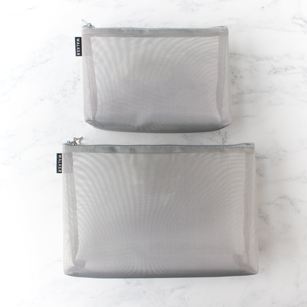 Gusseted Mesh Project Bag - Metallic Silver