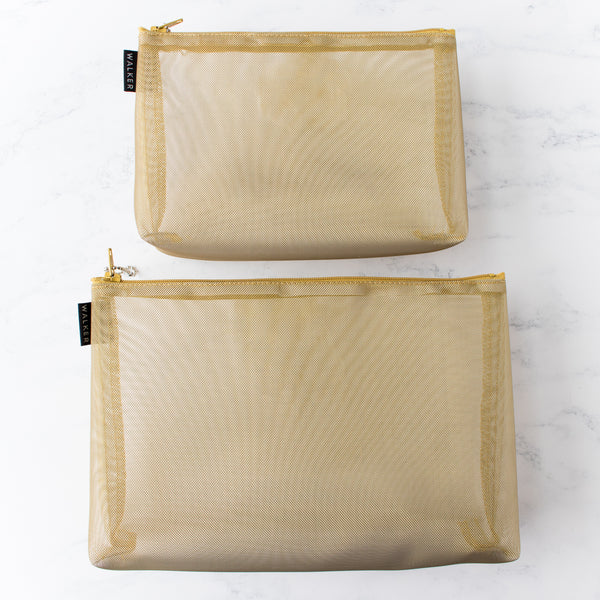 Gusseted Mesh Project Bag - Metallic Gold
