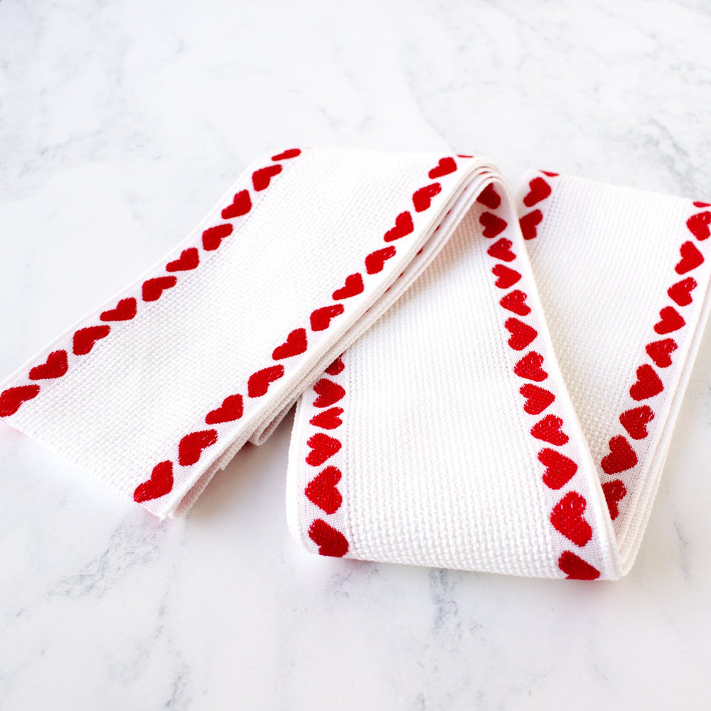 White Aida Stitching Band with Hearts - 2-3/4 inches