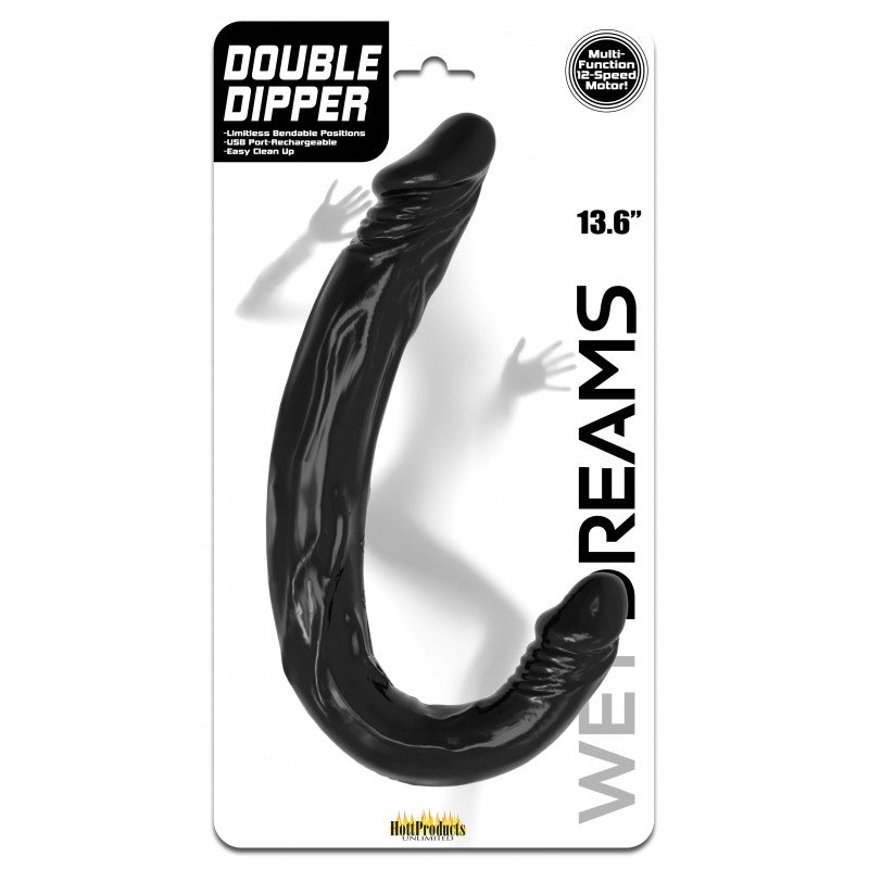 Double Dipper Vibraflex Black 13.6'' Dildo 12 Functions