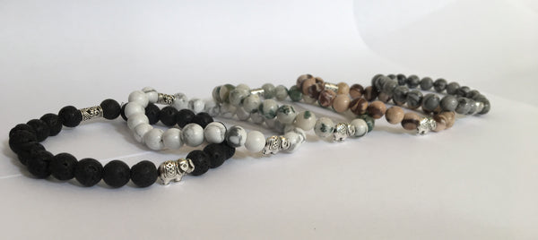Natural Stone Elephant Charm Bracelet Collection