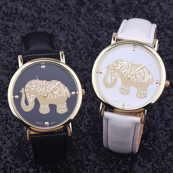 White, Black, Brown Strap Gold Elephant Face Watch