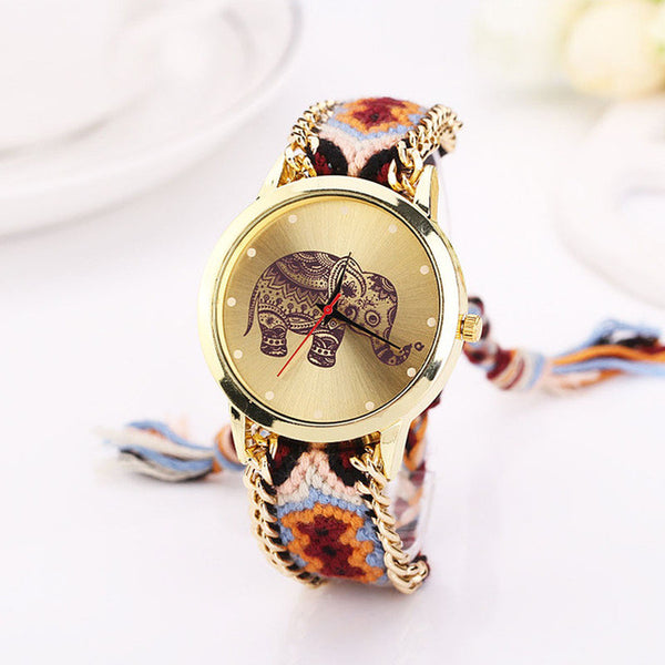 Multi-colored Braid Gold Face Elephant Watch