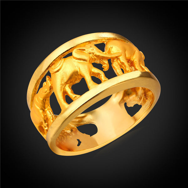 Gold Plated Elephant Circle Ring