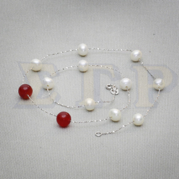 10 Pearls and 2 Rubies Necklace