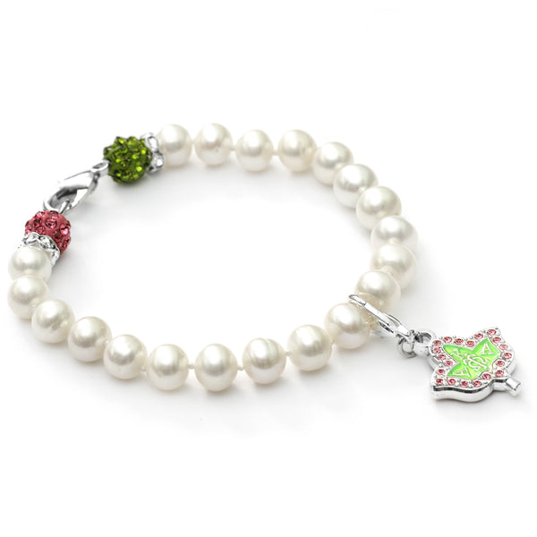 AKA 20 Pearls Bracelet with Pink Rhinestone Fireball and Green Rhinestone Fireball + AKA Silver IVY