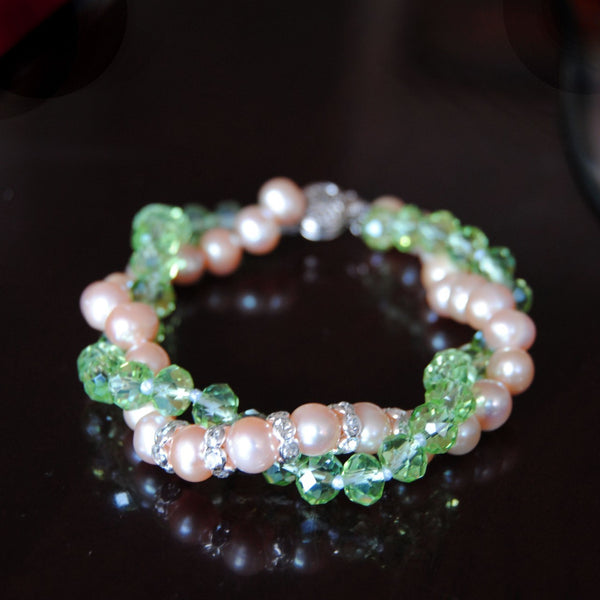 Pink and Green Sisterhood Bracelet