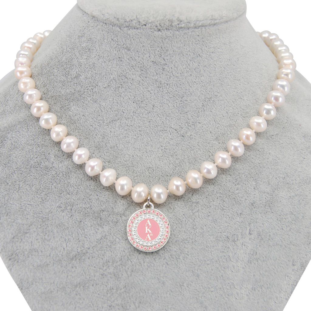 AKA Pink Round Charm Pearl Necklace