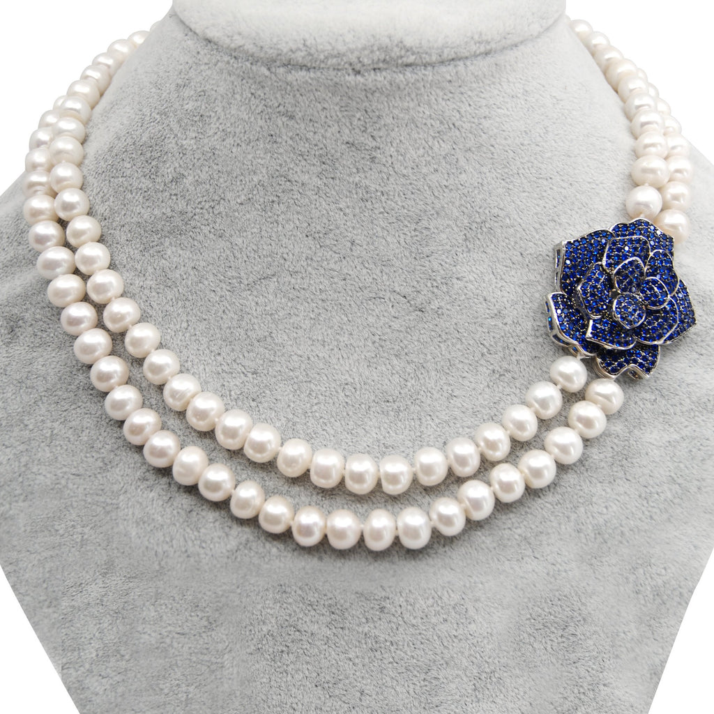 Blue Rose Freshwater Pearl Necklace