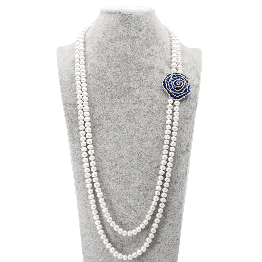Blue Rose Long Freshwater Pearl Necklace