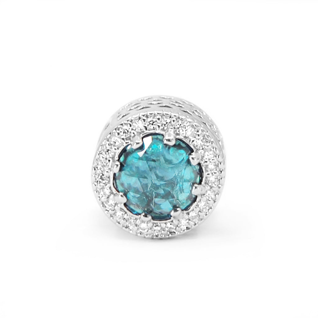 Fancy Light Blue Radiant charm