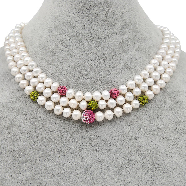 AKA 3 Strand FIreball Pearl Necklace