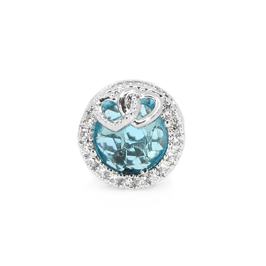 Light Blue Radiant charm with Hearts