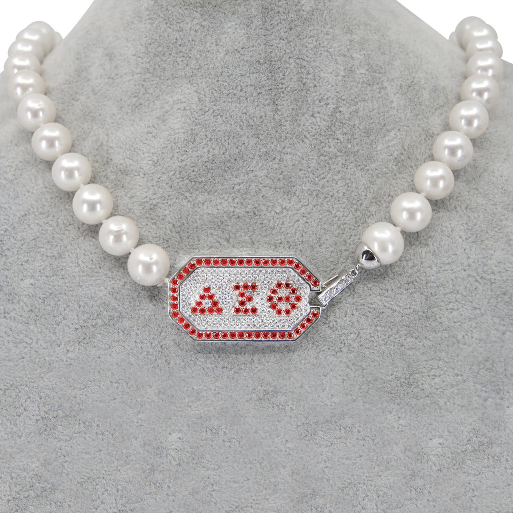 Delta Greek Letter Pearl Necklace