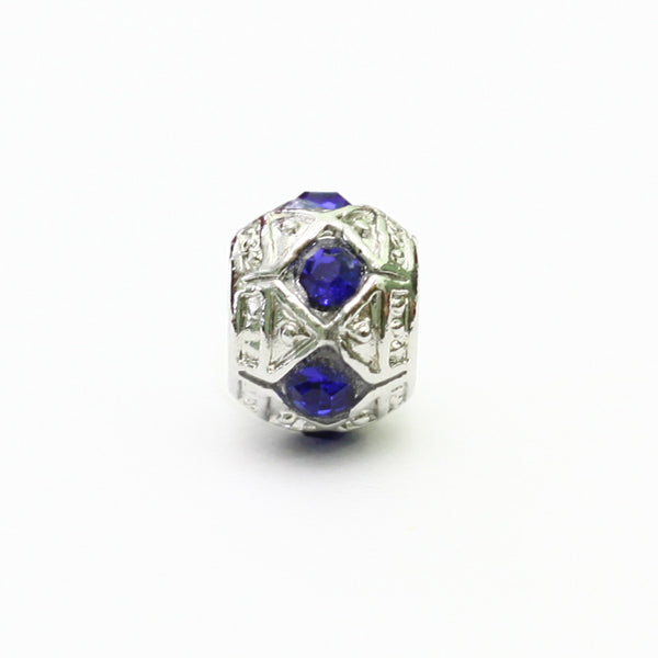 Silver Charm With Blue Stone