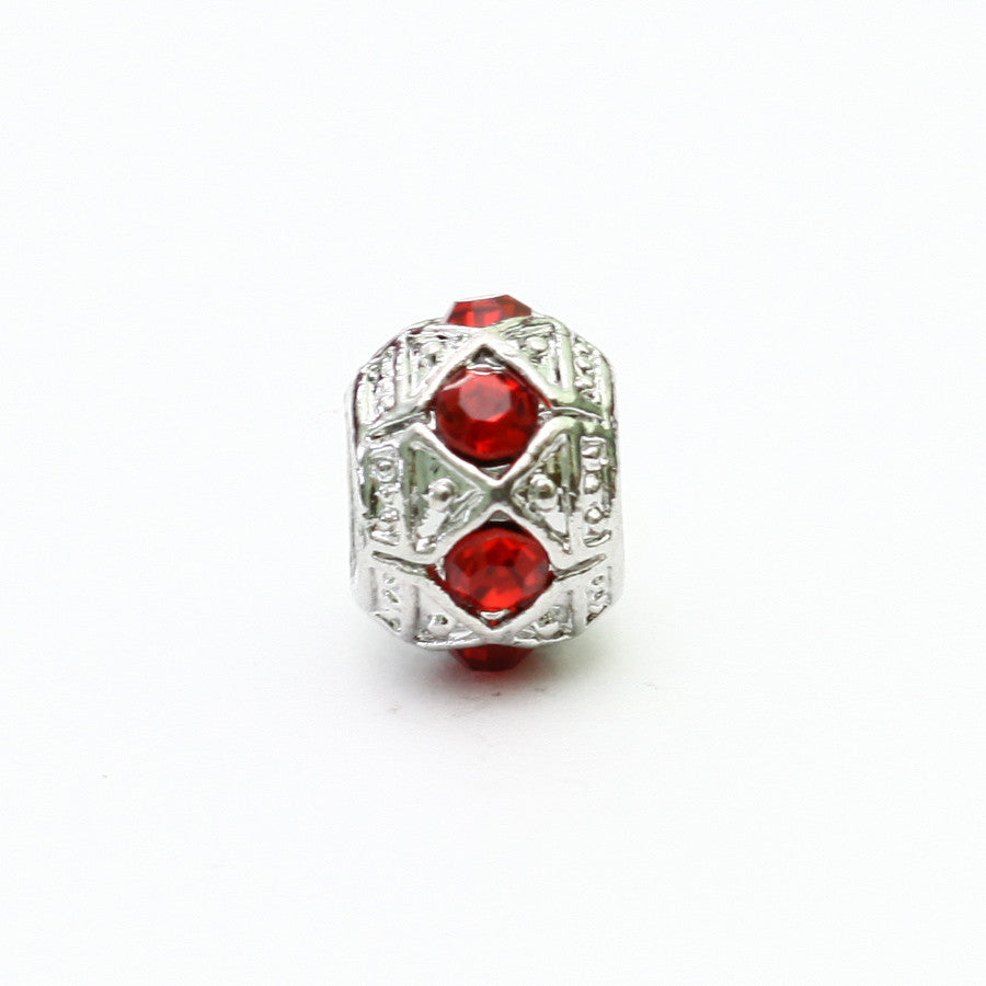 Silver Charm With Red Stone