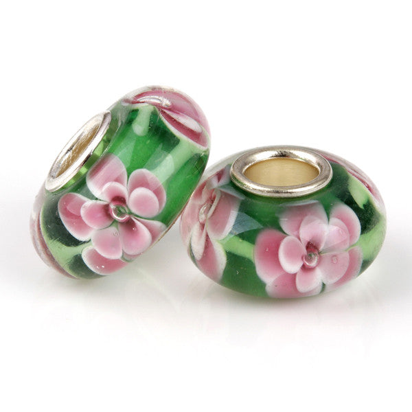 Pink and Green Murano Glass Charm