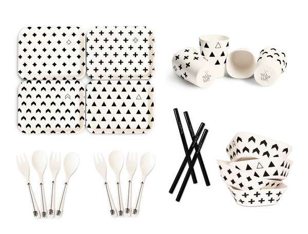 Bamboo Fiber 24 Piece Tableware Set