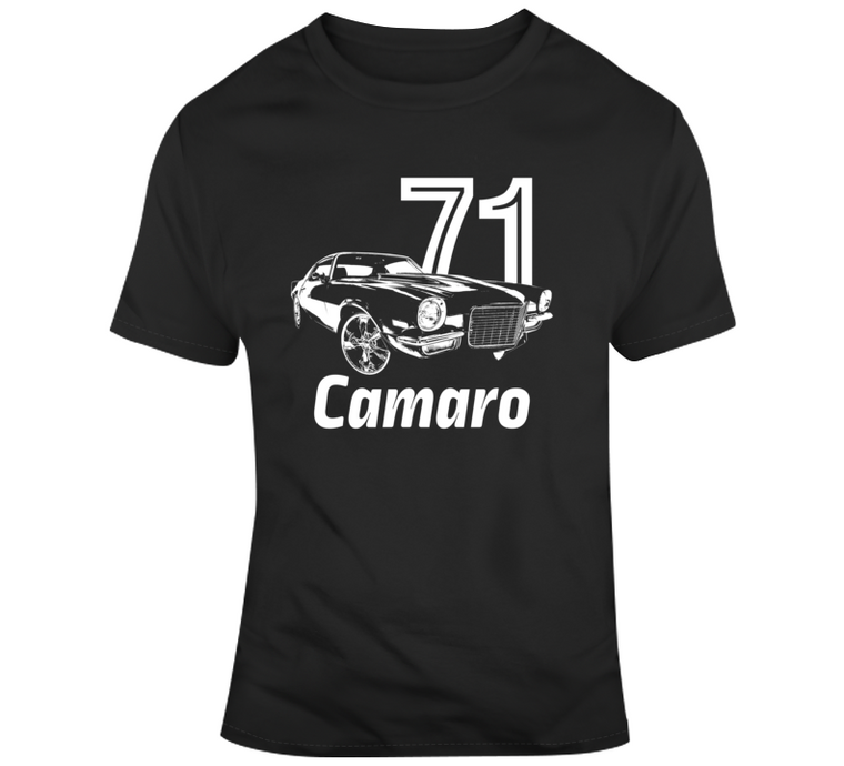 1971 Camaro Three Quarter View With Year And Model Dark Color T Shirt