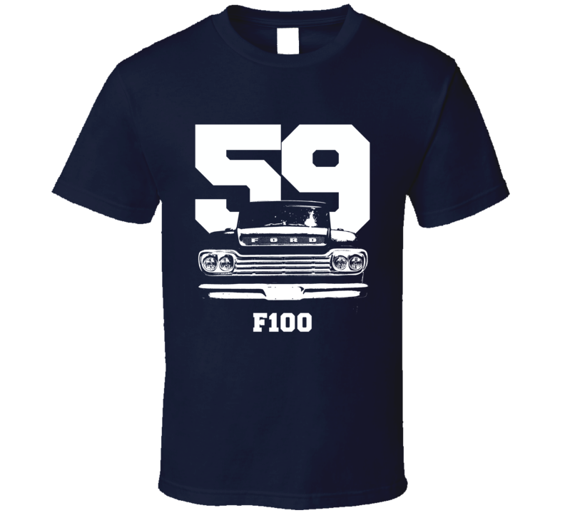 1950 F100 Pickup Truck Grill View With Year And Model Name Navy Blue T Shirt
