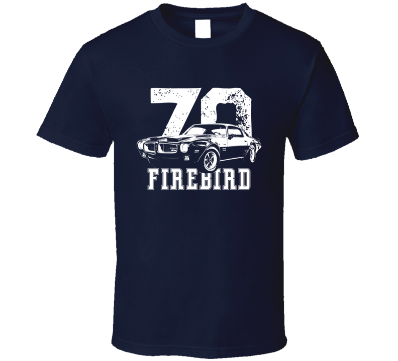 1970 Firebird Three Quarter View With Year And Model Dark Color T Shirt